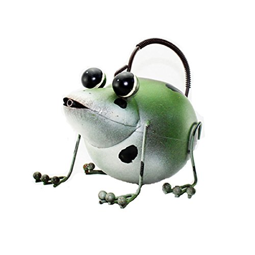 Waineg Pure Hand Make Children Diy Gardening Sprinkle Kettle Wrought Iron Frog Shape Watering Pot Cartoon Animal Sprinkle Kettle Garden Decoration ()
