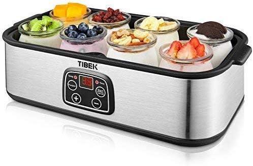 TIBEK Yogurt Maker LCD Display Yogurt Maker Machine with 8 Glass Jars 48 ounces, Temperature Control, Auto Off Timer, Stainless Steel, 30W