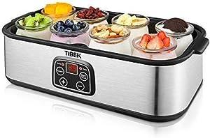TIBEK Yogurt Maker LCD Display Yogurt Maker Machine with 8 Glass Jars 48 oz, Temperature Control, Auto Off Timer, Stainless Steel, 30W