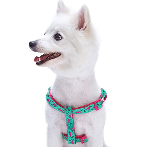 Collar Christmas Ribbon Pet Dog (Blueberry Pet Step-in Pink Flamingo on Light Emerald Dog Harness, Chest Girth 26