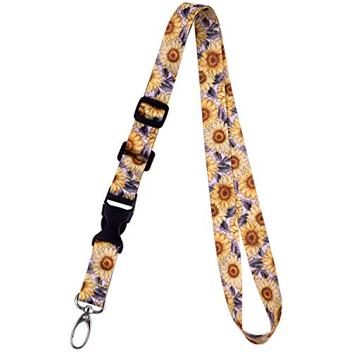 Sunflower Clasp - Office Lanyard, Wisdompro Adjustable Length, Polyester Neck Strap with Oval Clasp & Detachable Buckle for ID, Name Tag, Company Badge Holder, and Keys - Sunflower