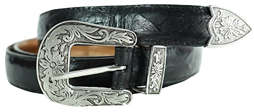 Black Crushed Leather (CHOCOLATE PICKLE New Womens Worn Out Leather Look Black Crushed Floral Antique Buckle Tapered Edge Belts Black L - UK 12/ EU 40/ US 8)