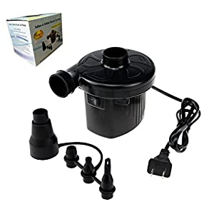 Qingsm Quick-Fill 110V AC Inflate/Deflate Pump Electric Portable Air Pump for Inflatables Air Mattress Raft Bed Boat Pool Toy