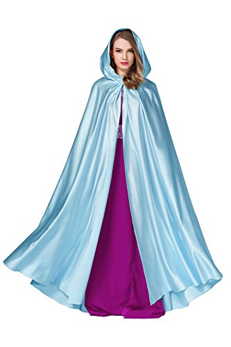 BEAUTELICATE Women's Wedding Hooded Cape Bridal Cloak Poncho Full Length Powder Blue ()