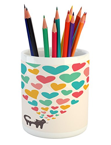 Lunarable Cat Lover Pencil Pen Holder, Cute Cat in Love with Colorful Different Size Hearts Happy Sweet Kitty Clipart, Printed Ceramic Pencil Pen Holder for Desk Office Accessory, Multicolor