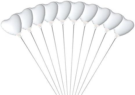 ミニバルーン スティック付き ハート 10本セット ホワイト 【バルーン6cm 全長30cm】