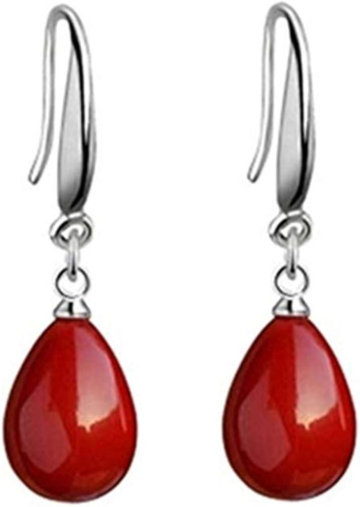 Pendientes mujer de plata de ley 925 pendientes largos con colgantes de perlas rojos, con caja de regalo de joyería exquisita