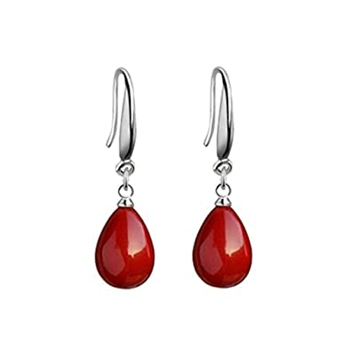 09862e861 Pendientes mujer rojas de plata de ley 925 pendientes largos con colgantes de  perlas rojas