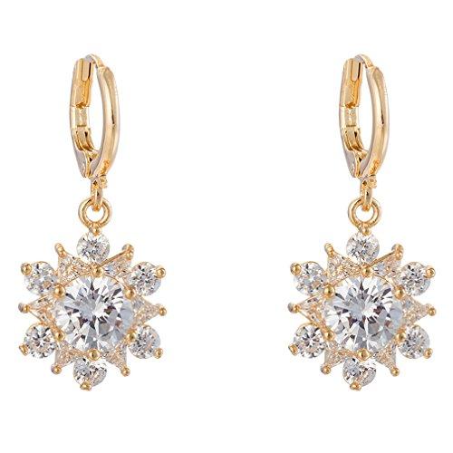 YAZILIND Women Elegant 18K Gold Plated Flower Cubic Zirconia Crystal Hoop Dangel Drop Earrings