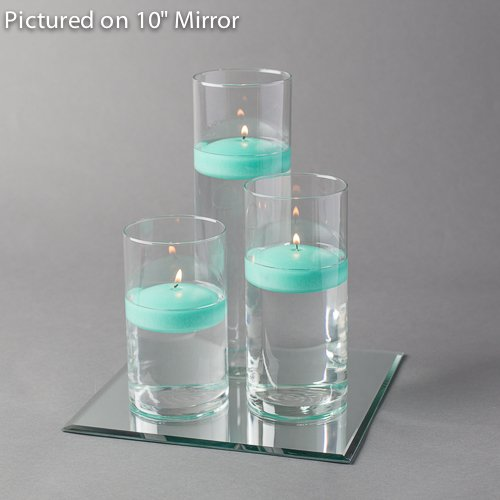 Aqua Floating Candles (Eastland Square Mirror and Cylinder Vases Centerpiece with Richland Floating Candles 3