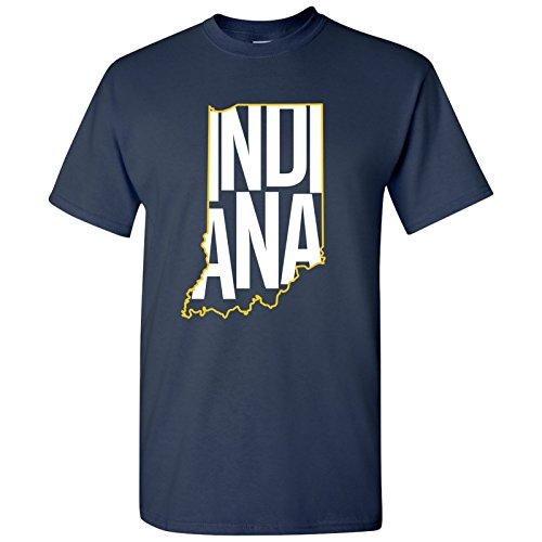 (UGP Campus Apparel Indiana Basketball State Outline Basic Cotton T-Shirt - X-Large - Navy)