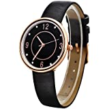 Nuovo Lady Watch Black Leather Rose Gold Dial Elegant Crystal Wristwatch for Women