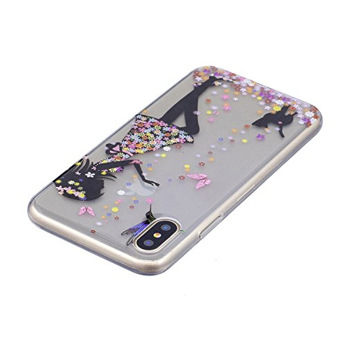 iPhone X Hülle Mädchen und Katzen Premium Handy Tasche Schutz Transparent Schale Für Apple iPhone X / iPhone 10 (2017) 5.8 Zoll + Zwei Geschenk