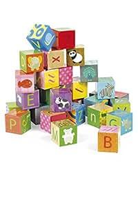 Janod - Maleta Kubkid puzzle alfabeto, 32 cubos (J02993)