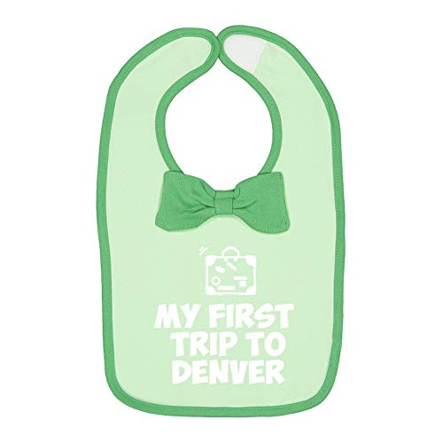 Mashed Clothing My First Trip to Denver - Baby Cotton Bow Tie Baby Bib (Mint/Grass)