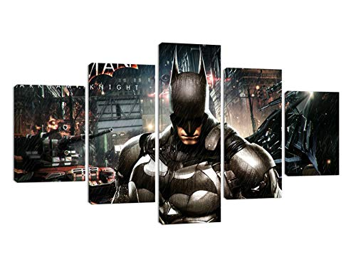 - Batman Canvas Wall Art for Bedroom Home Decor Posters and Prints Modern Movie Character Painting Pictures Decoration for Living Room Bathroom Framed Ready to Hang 5 Piece(60''W x 32''H)