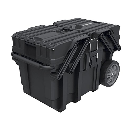 Mobile Storage Containers - Husky 25 in. Great Design Heavy Duty Cantilever Mobile Job Tool Storage Organizer Box with Flip-Out Trays, Handle and Stronger Wheels