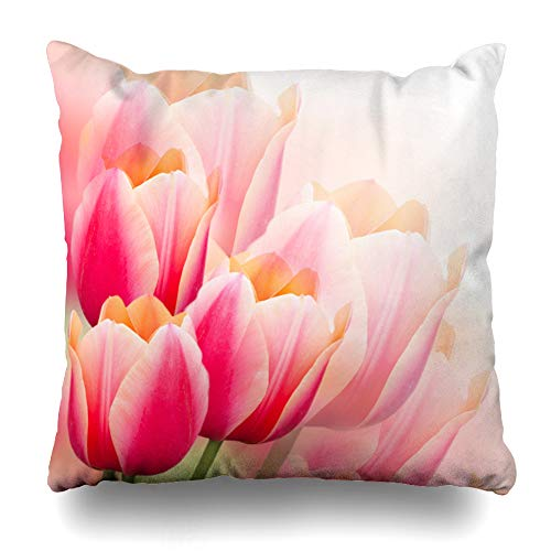 Ahawoso Throw Pillow Cover Abstract Green Floral Pink Tulips Spring Holidays Greeting Yellow Flower Pattern White Border Design Home Decor Pillow Case Square Size 18x18 Inches Zippered Pillowcase