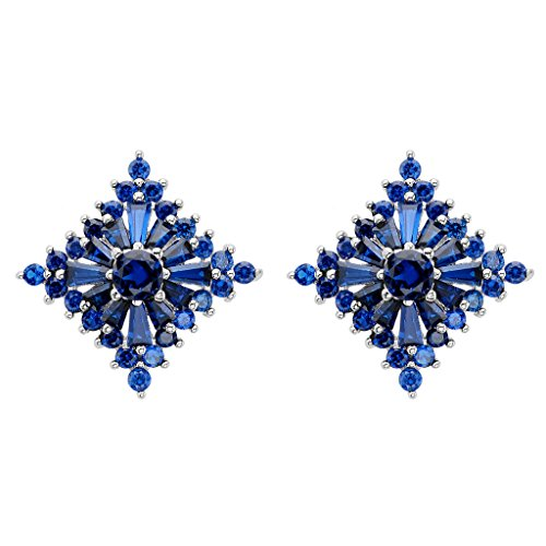 (EVER FAITH 925 Sterling Silver Cubic Zirconia Gorgeous Rhombus Wedding Stud Earrings Blue Sapphire Color)