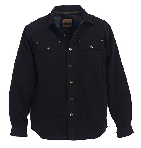 (Gioberti Men's Twill Shirt Jacket with Flannel Lining, Black,)