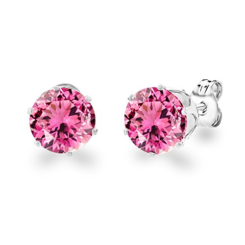 (Diane Lo'ren 18KT White Gold Plated 8mm Gemstone Crystal Cubic Zirconia Studs Earrings Set Women Jewelry (Pink Tourmaline))