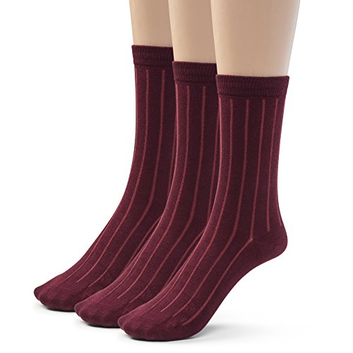 Silky Toes Bamboo Cotton Ribbed Crew Boys School Uniform Socks (Large (9-11), Burgundy)]()