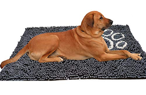 YWCY Dog Doormat for Dirty Dogs,Microfiber Absorbent Pet Door Mat, 31x21 inch Non-Slip Bathroom Rug Shag Shower Mat,Machine Washable Bath mats with Water Absorbent Soft Microfibers(Dark Gray)