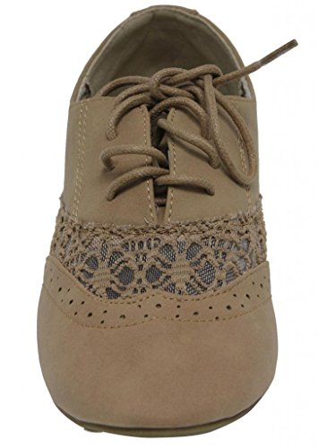 paisley women's fashion Khaki Rosy dressed flats oxford spring 2 work up shoes ANNA heel low 6 lace qEztw