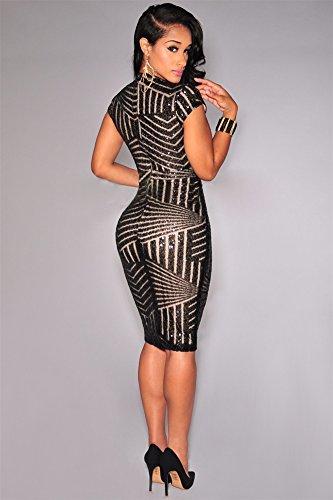 Vestidos De Fiesta Ropa De Moda Para Mujer 2018 Sexys Cortos Dorados Negros Elegantes Casuales VE0012 at Amazon Womens Clothing store: