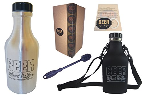 Ultimate Growler GIFT PACK | BEER Is Good For You | 1L/32oz Stainless Screw-Top (Limited Edition) Growler w/Custom Carrier, Cleaning Brush, Sticker, Instructions, Spare Seal & Brand Gift Box