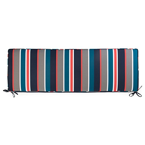 (Direct Home Navy Blue Teal Coral Gray Stripe 55 x 18 Porch Swing Glider Outdoor Bench Cushion)