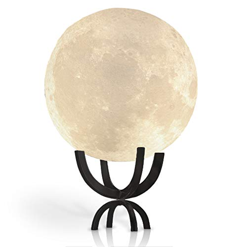 Moon Lamp LED 3D Printing Moon Night Light with Elegant Metal Stand, Decorative Luna Lamp, Good Gift for Baby Shower or Kids, (12cm)4.7in, Touch Control and Rechargeable by lil hoots (Black)