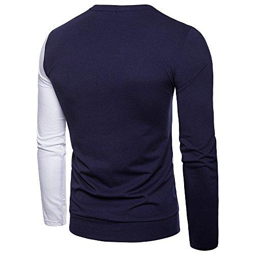 7ba2c609b ... Realdo Long Sleeve T-Shirt for Men, Fashion Casual Slim Splice Color  Crewneck Muscle ...