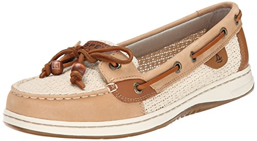 Sperry Top-Sider Women's Angelfish Cotton Mesh Boat Shoe, Sand/Ivory, 7.5 M US