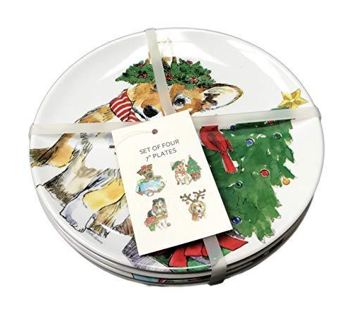 (Collie Corgi Wire Hair Fox Terrier & Poodle Dogs Celebrating Christmas Set of 4 Novelty Holiday Melamine Salad Dessert Appetizer Plates)