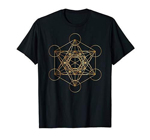 Mens Metatrons Cube Sacred Geometry Shirt ~ Gold Medium Black
