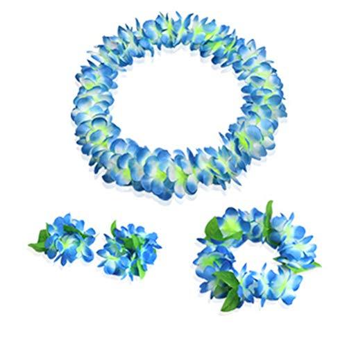 (Youkwer Hawaiian Flower Leis Jumbo Necklace Bracelets Headband Set,Hawaiian Leis Set Hawaii Wreath Lei Party Favors for Hawaiian Luau Party Decoration Supplies (Blue))