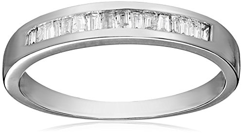14k White Gold Baguette Channel Set Diamond Ring (1/5 cttw, I-J Color, I1-I2 Clarity), Size 8,white, by Amazon Collection