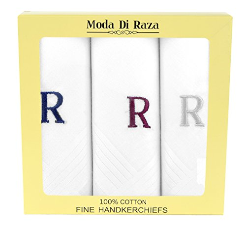 Cotton Monogrammed Handkerchiefs Initial Letter Hanky - R (Monogrammed Wedding Hankie)