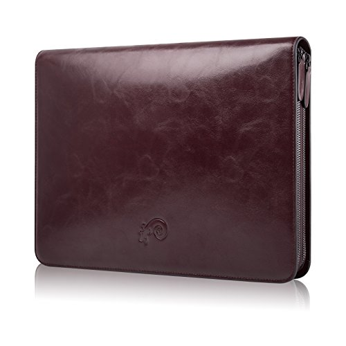 Dark Brown Executive Leather Laptop Travel Bag Clutch for 13