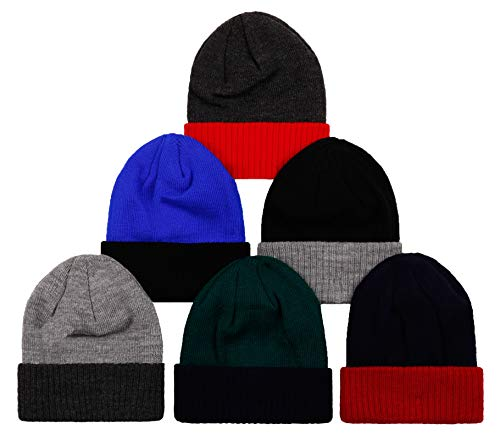 2ND DATE Kid's Winter Hat Knit Beanie - Style1-Pack 6