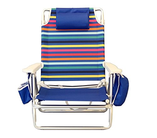 Nautica Reclining Folding Beach Chair with Insulated Cooler & Cup Holder (Rainbow (Nautica Home Decor)