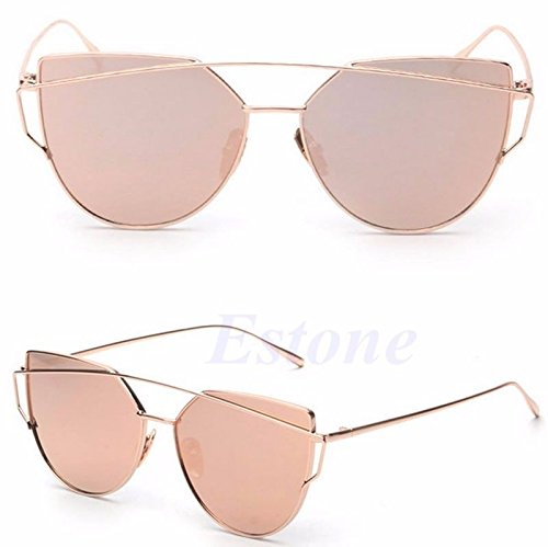 JUJU MALL-Women's Glasses Metal Flat Lens Vintage Mirrored Oversized Sunglasses -