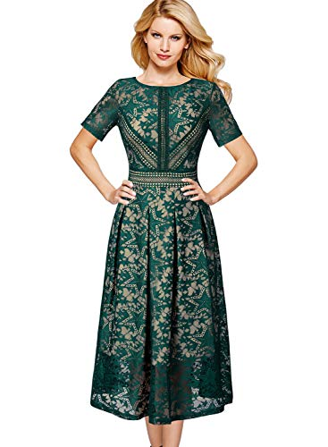 (VFSHOW Womens Green Floral Lace Pleated Cocktail Wedding Party A-Line Dress 2121 GRN S)