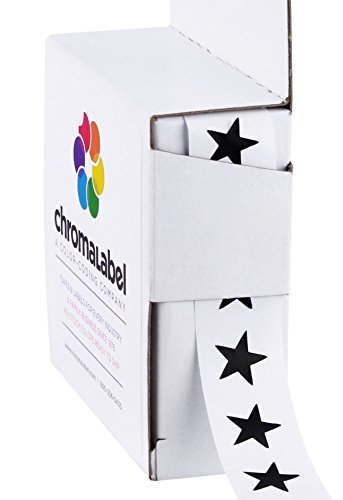 ChromaLabel 3/8 inch Color-Code Star Labels | 1,000/Dispenser Box (Black) ()