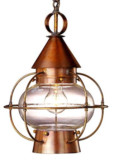Cape Cod Onion Pendant Nautical Hanging Copper Lantern - Small, Dark Copper, Clear Glass