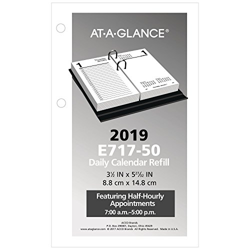 AT-A-GLANCE Daily Desk Calendar Refill, January 2019 - December 2019, 3-1/2