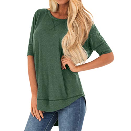 Aniywn Women Solid Color Short Sleeve T-Shirt Summer High Low Hem Splice Casual Simple Shirts Tops Green