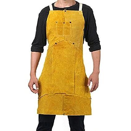 Delantal de piel Ropa de soldador Soldadura de trabajo Proteccion Seguridad Con Bolsillo Chaleco soldador