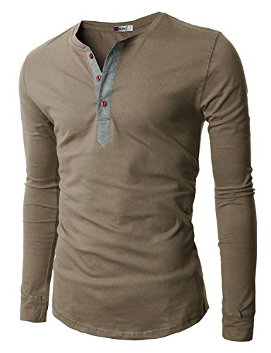 H2H Mens Henley T-shirts with Long Sleeve, Khaki, US M (Asia - Striped Henley Sleeve Long Shirt